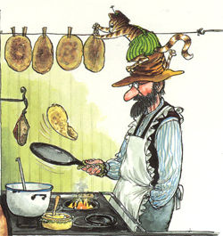 Findus och Pettson lagar pannkaka
